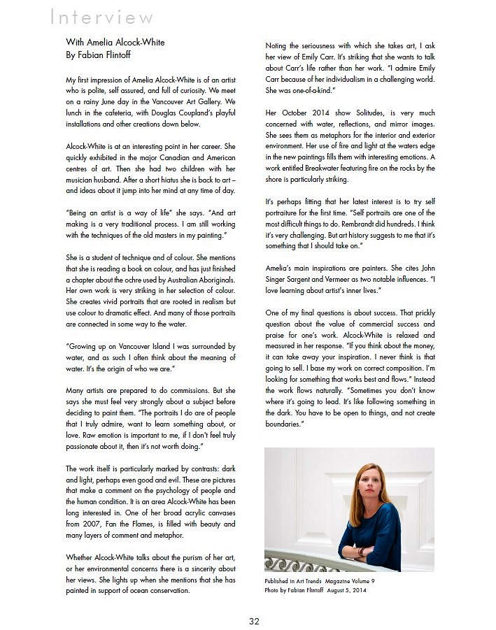 "cv amelia alcock white ""painting for change artist campaigns for ocean conservation "" 09 14 14 installation magazine ""the wonder of ambiguity "" interview by a moret 07 01 13"